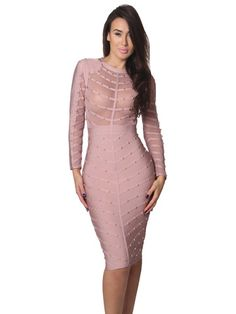 Nikoleta Mauve Studded Long Sleeve Mesh and Bandage Dress