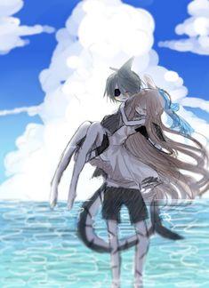 Honeymoon by mijikai-o-tan. Might be Wadanohara and Samekichi Cute I Love You, Rpg Horror Games, Rpg Maker, Grey Gardens, Cute Games, Angel Of Death, Emo Goth, Fanart, Kawaii Cute