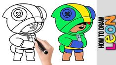 How To Draw Leon ★ Brawl Stars ★ Cute Easy Drawing Tutorial For Beginners Step By Step ★ Kids Easy Drawing Tutorial, Drawing Tutorials For Beginners, Easy Drawings For Kids, Stars Craft, Simple Cartoon, Step Kids, Simple Pictures, Star Art, Step By Step Drawing