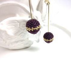 Frosted Amethyst Purple  Beaded Bead with Gold by frompgwithlove, $25.00