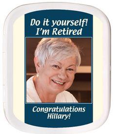 Retirement Favors Mint Tins Retirement Party Favors, Retirement Gifts, Retirement Ideas, Bon Voyage Party, Mint Tins, Guest Gifts, Office Parties, Custom Labels, Party Supplies