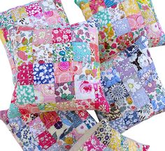 Red Pepper Quilts: Liberty Tana Lawn Pincushions...1.5 in Sqs...5 rows