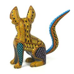 CURIOUS-CAT-Oaxacan-Alebrije-Wood-Carving-Handcrafted-Mexican-Folk-Art-Sculpture