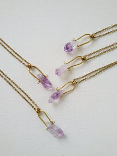 Keyz - Rough Amethyst crystal point and vintage brass connector geometric minimalist everyday necklace