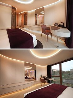 Flowing design elements, like the desk in this modern hotel room, create a soft and curvaceous line that guides the eye towards the window. Hotel Take A Look Inside The Newly Completed Hotel Neues Tor In Germany Hotel Safe, Das Hotel, Modern Hotel Room, Modern Room, Room Interior, Interior Design, Hotel Room Design, Built In Desk, Hotel Interiors