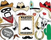 Cowboy or cowgirl Photo Booth Party Props Set - 25 Piece PRINTABLE - Western party, cowgirl, rodeo Photo Booth Props, patriots, Super Bowl