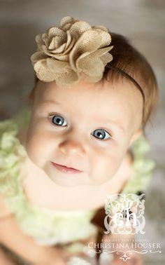 Baby Headband- Tan Burlap Ruffled Flower on Skinny Brown Elastic Headband. $10.95, via Etsy.