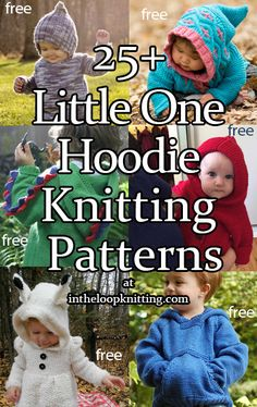 Little One Hoodie Knitting Patterns. Knitting patterns for hooded pullover and cardigan sweaters for babies and children. Baby Boy Knitting Patterns Free, Baby Sweater Knitting Pattern, Poncho Knitting Patterns, Knitted Baby Cardigan, Knit Baby Sweaters, Hoodie Pattern, Baby Hats Knitting, Knitting For Kids, Cardigan Sweaters