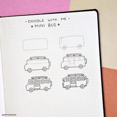 How to doodle mini bus. Step by step doodle tutorial. Bullet Journal Banner, Bullet Journal Notebook, Bullet Journal Ideas Pages, Bullet Journal Inspiration, Simple Doodles, Cute Doodles, How To Doodles, Cool Stuff, Doodle Art For Beginners