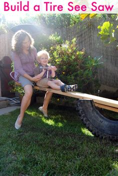 playground and old tires | build see saw How To Build a Tire See Saw