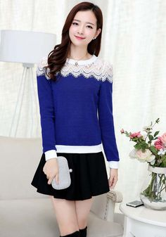 Women's #blue long sleeve #TShirt flower lace hollow cut, Rib-knit cuff, round neck, Pull over.