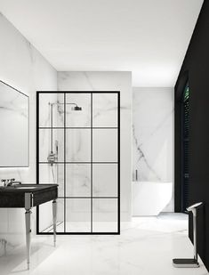 Modern monochrome bathroom designs for showering in style Modern Monochrome Bathroom Ideas: Black & White Bathroom Inspiration Bad Inspiration, Bathroom Inspiration, Boho Bathroom, Small Bathroom, Basement Bathroom, Bathroom No Window, Bathroom Ideas White, Modern White Bathroom, Tropical Bathroom