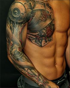 amazing tattoos | robotic muscles sleeve tattoo angel sleeve tattoo
