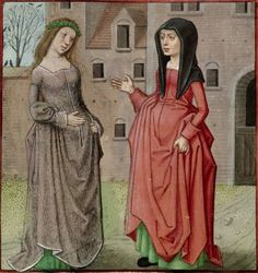 end of the 15th century (ca. 1490-1500) Netherlands - Bruges London, British Library Harley 4425: Roman de la Rose by Guillaume de Lorris and Jean de Meun fol. 37v -  Bel Accueil and Jalousie http://www.bl.uk/catalogues/illuminatedmanuscripts/ILLUMIN.ASP?Size=mid&IllID=31890