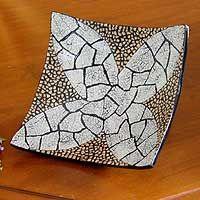 Eggshell mosaic centerpiece, 'White Ixora Flower'