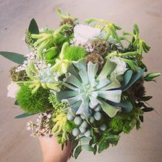 Bridal bouquet with succulent, green wedding bouquet, my work