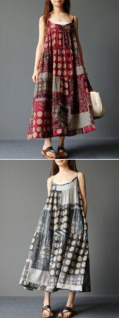 US$ 20.85 Gracila Spaghetti Strap Ethnic Printed Women Vintage Long Maxi Dresses