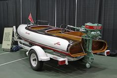 A 1941 Larson Falls Flyer with '41 Johnson 22hp outboard that Dennis and Peggy Pazderic purchased from Mikkelson Collection auction.