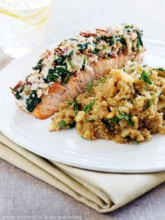 Salmon Florentine and Quinoa Pilaf with Pine Nuts....that's a mouthful but surprisingly I have all of this in my cupboard and freezer.