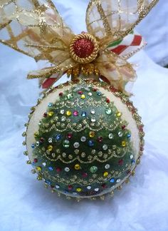 Christmas Tree Hand Painted Glass Ornament by KARCREATIONS on Etsy