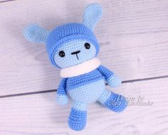 Lovely amigurumi crochet bunny perfect soft cuddly toy for your child. Made by hand with love.  Blue Rabbit will be a wonderful gift for the little girl and boy.  - Color: as the photo. - Size: about 7.5 inches (19 cm) (incl. ears) - Material: High quality acrylic yarn 100% Polyester eyes embroidered  Amigurumi plush bunny is ready to ship.  But if you have the desire to buy a bunny with a different color, I am always in touch and open to your suggestions. Deadline 2-3 days from the date of…