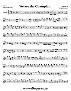 Partitura de We are the Champions para Flauta Travesera, flauta dulce y flauta de pico Queen  Sheet Music Flute and Recorder Music Score We are the Champions