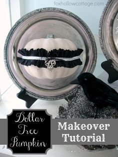 Dollar Tree Pumpkin Makeover. #halloween #craft #pumpkin.