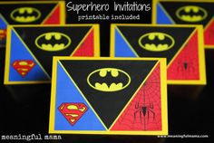 Superhero Invitations - Printable Included - Meaningful Mama