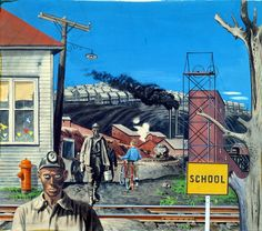 Mining Village (Study for mural, Huntington, West Virginia forestry service building) by Stevan Dohanos / American Art