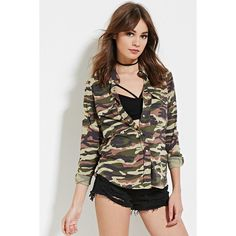 Forever 21 Women's  Camo Print Shirt ($28) ❤ liked on Polyvore featuring tops, rayon tops, long sleeve woven shirt, camo shirt, woven shirt and forever 21 shirts