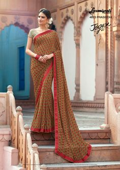 Browse the multicolor #georgette designer #printed_saree with #unstitched blouse, satin silk printed lace border online 🛒at www.laxmipati.com #Catalogue- JOGAN Designnumber: 4613 #Price: ₹1458.00  #JOGAN0317 #Laxmipatisarees Laxmipati Sarees, Georgette Sarees, Indian Dresses, Indian Outfits, Indian Clothes Online, Casual Saree, Printed Sarees, Sarees Online, Daily Wear