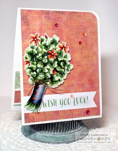 Wish You Luck digital stamp set by Power Poppy, card design by Cindy Lawrence. Wish You Luck, Creative Closets, Poppy Cards, Making Cards, Digital Stamps, Copic, Handmade Cards, Poppies, Stamping