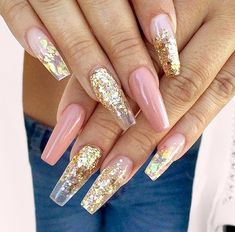 25 Fun Ways to Wear Ballerina Nails Gold Sequin and Dark Nude Ballerina/Coffin Nails Cute Nail Designs, Acrylic Nail Designs, Gold Nail Designs, Hair And Nails, My Nails, Gold Acrylic Nails, Gold Coffin Nails, Stiletto Nails, Nails With Gold