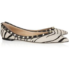 Valentino Zebra-print calf hair flats ($845) ❤ liked on Polyvore