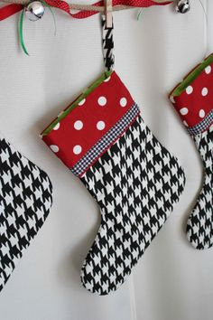 Red Polka Dots on Houndstooth- Christmas Stocking on Etsy, $24.00