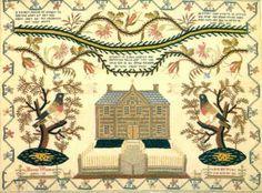 SAMPLER trees birds house 1800 CANVAS