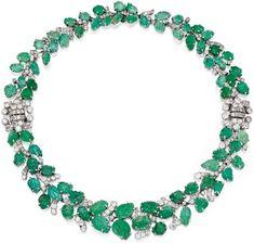 Art Deco emerald and diamond leaf necklace/bracelet.