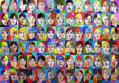 GRADE 4,5 AND 6 STUDENTS AT LOCAL SCHOOL. the students love looking at this piece... finding themselves,their friends, who they are mixed up with and laughing at the new faces created.