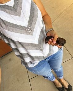 Instagram Round Up | Tank and Ripped Jeans | how to style a chevron tank | chevron tank outfit | spring style | spring fashion | styling for spring and summer | warm weather fashion | style ideas for spring | fashion tips for spring || The Flexman Flat