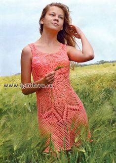 """Airy vestido de verano """"nectarina"""" patrón """"piña"""". Gancho"""