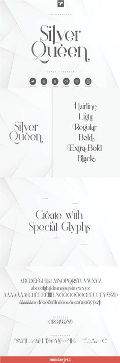 Introducing Silver Queen - Serif Typeface with 6 weights  Silver Queen is luxury, vintage typeface with 6 weights loaded alternate glyphs, ligatures and multilingual support. It's a very versatile font that works great in large and small sizes.  Silver Queen is perfect for branding projects, home-ware designs, product packaging, magazine headers - or simply as a stylish text overlay to any background image.
