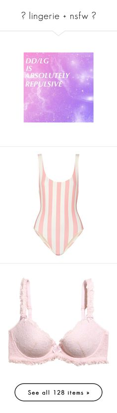 """☆ lingerie + nsfw ☆"" by galaktikons ❤ liked on Polyvore featuring swimwear, swimsuits, bikinis, bodysuit, swim, intimates, bras, underwear, lingerie and light pink"
