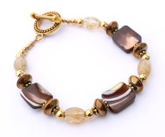 Brown and Yellow Bracelet by InspiredTheory on Etsy