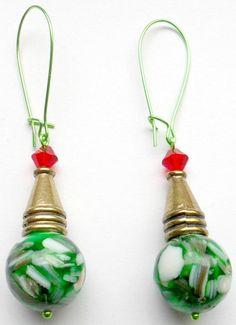 Magnesite Elf Head Earrings w/ Swarovski Crystals by CrashsCuriosities