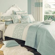 Duck Egg Evie Butterfly Bedlinen Collection- This is the bedding I'm basing the bedroom design around. Duck Egg Blue Bedroom, Bedroom Green, Bedroom Colors, Dream Bedroom, Home Bedroom, Master Bedroom, Bedroom Decor, Duck Egg Blue Bedding, Master Suite