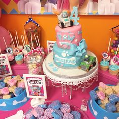 Cake - paw patrol - pink blue cake - Oreos - rice krispy treats- cake pops, candy station, chandler cake holder, cup cakes, pink, blue, cup cake sticks, dog bones, eat, candy, 4 year old