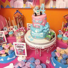 Cake - paw patrol - pink blue cake - Oreos - rice krispy treats- cake pops, candy station, chandler cake holder, cup cakes, pink, blue, cup cake sticks, dog bones, eat, candy, 4 year old