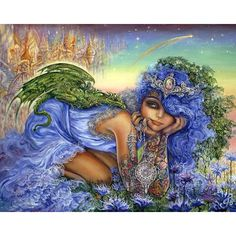 Josephine Wall dragon charmer. This is my favorite by her I wish I had a dragon on my back like that! Also that tiara.