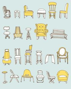 I recently did an illustration of chairs for a wedding invite, and this would have been great inspiration!:
