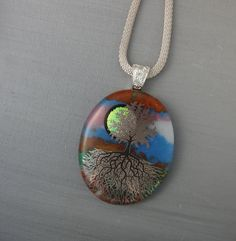 Tree of Life Pendant Oval Fused Glass Pendant  Stone by GlassCat